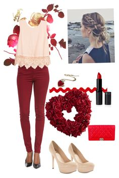"""""""Valentines Day !!!"""" by alixbeta ❤ liked on Polyvore featuring Chanel, 7 For All Mankind, Lush Clothing, GUESS by Marciano and Pier 1 Imports"""