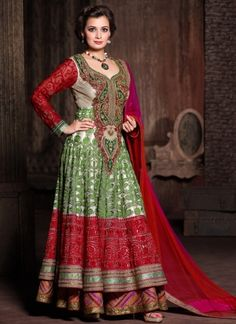 Green And Red Double Net Embroidery Work AnarkalI Suit http://www.angelnx.com/Salwar-Kameez/