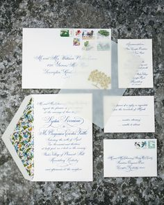 florentine paper lined engraved calligraphy wedding invitation with vellum overlay -- calligraphy by claudia engle -- photo by lang thomas