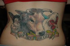 »Chelsea's vegan tattoo, done by Kenny Brown in Fredericksburg VA. The pig (Alexandra), cow (Heidi), and chicken (Louise) were photographed at Poplar Springs Animal Sanctuary and the photos were used as a reference for the tattoo. Each of them were rescued from becoming food.«