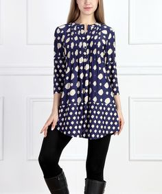 Look at this Navy Dot Notch Neck Tunic on #zulily today!
