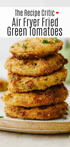 Air fryer fried green tomatoes are insanely delicious! Crispy on the outside and tender and juicy on the inside, these tomatoes will knock your socks off! Power Air Fryer Recipes, Air Fryer Oven Recipes, Air Frier Recipes, Air Fryer Dinner Recipes, Green Tomato Recipes, Vegetable Recipes, Veggie Dishes, Side Dishes, Main Dishes