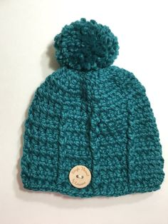 Crochet Turquoise Beanie with Pompom by tejer on Etsy Crochet Cap 8d84ce48329b