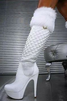 Quilted & White Leather Boot
