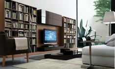 Decorating Ideas, Hot Regolo Library Wall Unit Design In Living Room For Book Case Ideas And TV Rack: Enchanting Living Room Wall Units Ideas For By Italian Furniture Designer Jesse Apartment Interior Design, Home Interior, Luxury Interior, Interior Architecture, Living Room Wall Units, Living Room Decor, Casa Milano, Wall Unit Designs, Modern Wall Units