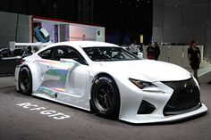 Lexus RC F GT3 Concept - 2014 - RC F GT3 looks sinister, with the spindle-style front grille extending down to almost the ground. A V8 engine will sit up front, pushing out 540 horsepower. The car has a highly aerodynamic body that sits low all around. Curb weight is just 2,755.8 lbs. The GT3 will be used in GT3 racing; it is not going to be released to the eager public. The concept car has a glittery paint job, making it look more like it just left an early-morning rave than the race track.