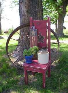 Primitive Garden Chair.. from Collyott Farms Gourmet Gifts.