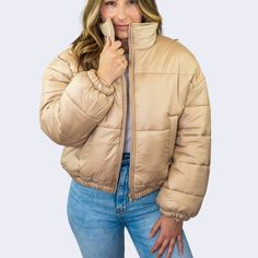 Tan Woven Puffer Jacket – chandeliersandtulips