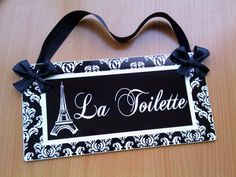 Personalized White And Black Damask Bathroom Door Sign Eiffel Tower French  Text   La Toilette
