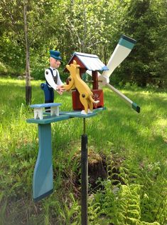 Artisan Whirligig A Men with a Dog Taking Water from a Well Wood Crafts, Diy And Crafts, Arts And Crafts, Wooden Pattern, Wind Sculptures, Wind Spinners, Building For Kids, Wood Toys, Yard Art