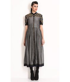 Nida Mehmood Grey Cotton Silk Maxi Dress With Embroidery On Yoke And Sleeves, http://www.snapdeal.com/product/nida-mehmood-grey-cotton-silk/1537563414