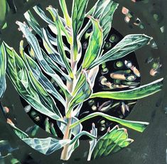 Claudia Gurwitz | Nexus #4 - available for sale | StateoftheART Round Canvas, Canvas Size, Plant Leaves, Floral, Artwork, Artist, Painting, Inspiration, Biblical Inspiration