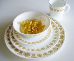 Vintage Corelle Place Setting - Dishes for One - 5 piece set - Butterfly Gold Pattern by Vintagerous on Etsy