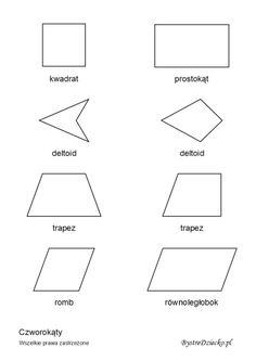 Pomoce dydaktyczne dla dzieci z geometrii - czworokąty, figury geometryczne płaskie