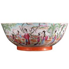 Chinese Export Rose Canton Porcelain Punch Bowl | From a unique collection of antique and modern bowls at https://www.1stdibs.com/furniture/dining-entertaining/bowls/