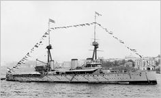 HMS Inflexible (shown here in New York in 1909) was an Invincible-class battlecruiser of the British Royal Navy. She was built before World War I and had an active career during the war. She tried to hunt down the German battlecruiser SMS Goeben and the light cruiser SMS Breslau in the Mediterranean Sea when war broke out and she and her sister ship Invincible sank the German armoured cruisers SMS Scharnhorst and SMS Gneisenau during the Battle of the Falkland Islands.