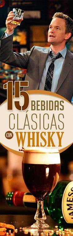 15 bebidas clásicas con Whiskey. whiskey whisky bourbon bebidas para hombres coctel para hombre bebidas elegantes tipos de bebidas drink for men elegant drink types of drinks Food & Drink cocktail classic drink alcohol.