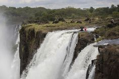 On the Zambian side of the Victoria Falls, next to Livingstone Island, you'll find Africa's most dangerous infinity pool - the Devil's Pool. Victoria Falls, Niagara Falls, Devil, South Africa, Waterfall, Livingstone, African, Island, Infinity