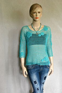 Crochet Sweater Sea Glass Crochet Top Hand by CasadeAngelaCrochet