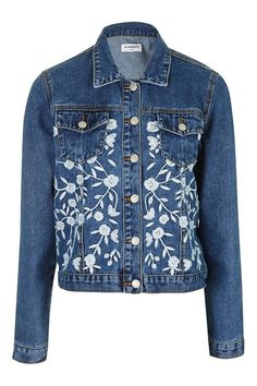 Topshop Embroidered Denim Jacket by Glamorous Petites