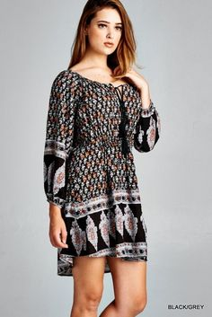 Ethnic Print Tunic Dress - Black/Grey