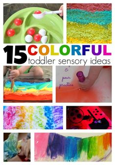 These fun sensory ideas are a rainbow of fun. From fine motor activities to crafts, there are a plethora of educational fun finds in this collection. These rainbow activities and crafts would be fun for St. Sensory Activities Toddlers, Color Activities, Craft Activities For Kids, Infant Activities, Preschool Activities, Sensory Bins, Sensory Play, Activity Ideas, Kid Crafts