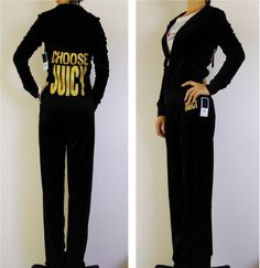 NWT Juicy Couture Black with CHOOSE JUICY Velour Track Suit, Hoodie Pant, S $238 #JuicyCouture #TrackSweatSuits