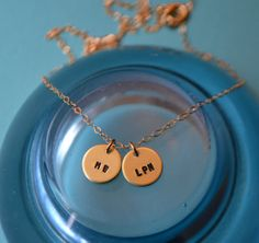 If you find my item on Pinterest, please use coupon code PINTERESTPAL at checkout to receive 10% off of your total order from SeaSaltShop!! Two Disc Gold Initial Charm Necklace by SeaSaltShop on Etsy, $30.00