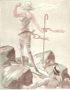 La Madone du Touring - - Couple Jeune femme - Dessin Pem - Gravure Ancienne 1928