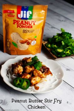Peanut Butter Stir Fry Chicken that is easy to make. Recipe is from CopyKat.com. The peanut powder makes the perfect thick sauce you will love. #JIFPeanutPowder #WalMart #ad