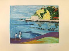 """Playa de Ereaga"", de Menchu Gal. Aguafuerte y Aguatinta a tres planchas, 56 x 76 cm"