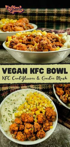 Vegan KFC bowl with air fried cauliflower recipe. This is a copycat of the KFC famous bowl with mashed potatoes and healthy air fryer cauliflower, seasoned with 13 spices! Vegan Dinner Recipes, Veggie Recipes, Whole Food Recipes, Vegetarian Recipes, Cooking Recipes, Healthy Recipes, Easy Recipes, Dinner Healthy, Chicken Recipes