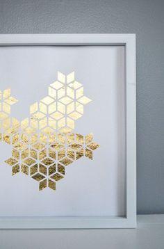 Metallic Gold Behind White Paper Cutout