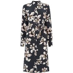 Warehouse Floral Belted Shirt Dress ($84) ❤ liked on Polyvore featuring dresses, women, flower pattern dress, collared shirt dress, shirt dress, belted floral dress and collar dress