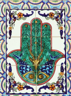 Find images and videos about hand, hamsa and jamsa on We Heart It - the app to get lost in what you love. Tile Art, Mosaic Tiles, Tile Murals, Backsplash Tile, Arte Judaica, Hamsa Design, Jewish Art, Hand Of Fatima, Hamsa Hand