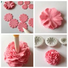 Make Mother's Day Cake Toppers – Carnations and Ruffle flower designs - Baking Heaven Fondant Flower Tutorial, Fondant Flower Cake, Fondant Rose, Fondant Baby, Ruffle Cake, Fondant Cakes, Sugar Paste Flowers, Icing Flowers, Cake Decorating Techniques