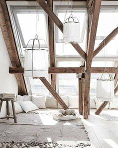 Aménager les combles pour en faire un petit coin lecture style scandinave nature rustique cosy cocooning