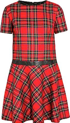 Leather-trimmed tartan cotton dress