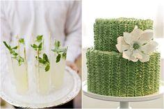 green mint garnish in tall glasses of lemonade, spring green ruffle cake, green wedding ideas
