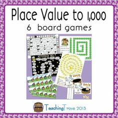 6 place value games to help consolidate place value to 1,000 are included in this game pack.    The games require players to identify number names; add 1 more, 10 more or 100 more to a given number; identify the highest and lowest value of numbers; identify the amount of hundreds, tens and ones in a number; understand less than or greater than; compare numbers and count base ten blocks