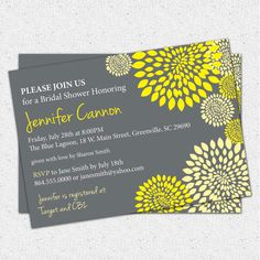 Bridal Shower Invitation Printable Yellow and by OhCreativeOne, $12.50