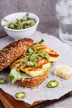 Spicy green goddess sandwich with halloumi