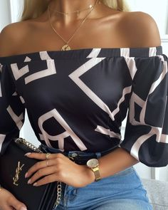 Chic Type, Classy Outfits, Casual Outfits, Cute Outfits, Casual Tops For Women, Blouses For Women, Trend Fashion, Womens Fashion, Off The Shoulder Top Outfit