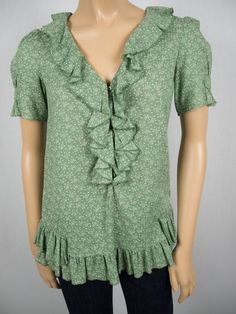 MARC BY MARC JACOBS Green Fireworks Top 2 XS Cotton Ruffle Trim Semi Sheer Shirt