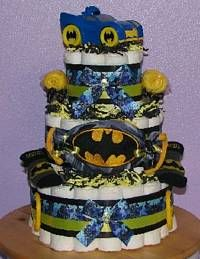 Batman Diaper Cake with baby Batmobile Toy!