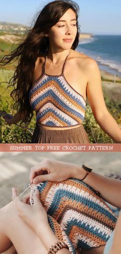 How To Crochet Boho Summer Top This is a beautiful crochet summer top tutorial with easy step by step instructions. Learn how to crochet boho crop top with elegant stitching and adjustable straps for a flawless fit. Crochet Halter Tops, Bikini Crochet, Crochet Summer Tops, Crochet Crop Top, T-shirt Au Crochet, Beau Crochet, Crochet Shirt, Crochet Basics, Crochet Top Outfit