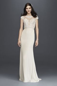 The picture of modern elegance, this gown features a plunging, sequined lace illusion bodice with a timeless button back. The fluid crepe skirt falls into a beautiful column with an inset train.  Galina Signature, exclusively at David's Bridal  Polyester  Chapel train  Back zip; fully lined  Dry clean  Imported