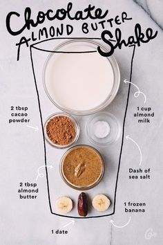 Chocolate almond butter shake - Clean eating recipes
