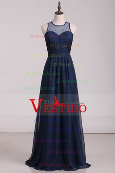 2016 Prom Dresses Scoop Chiffon With Ruffles A Line Dark Navy Floor Length
