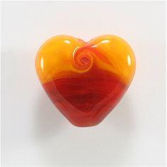Handmade Lampwork Heart Bead Red Yellow by FireSongCreations, $22.00
